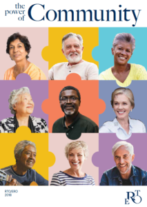Cover of 2018 Annual report – photos of nine smiling seniors in a tile of nine colourful squares